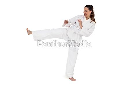 kaempfer der karatestellung durchfuehrt