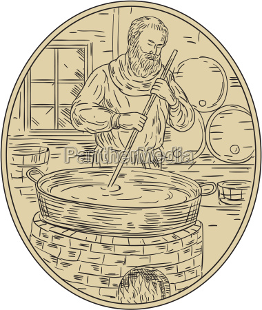 medieval monk brewing beer oval drawing