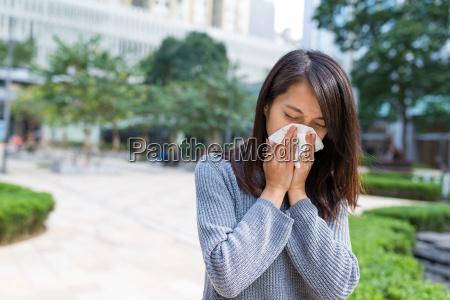 woman feeling sick