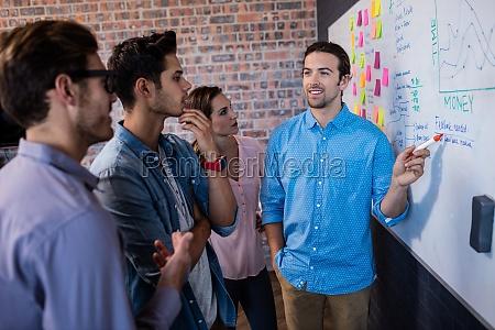 coworkers die interaktion vor einem brett