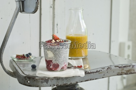 a chia pudding with summer fruits
