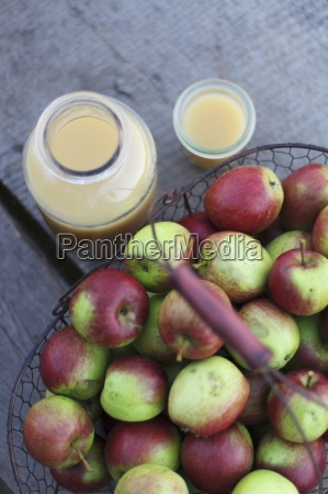fresh naturally cloudy apple juice in