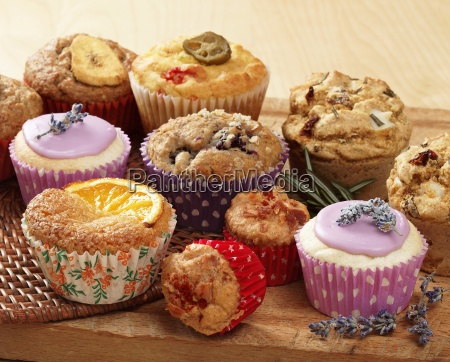 a selection of muffins and cupcakes