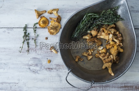 chanterelle mushrooms in a cast iron