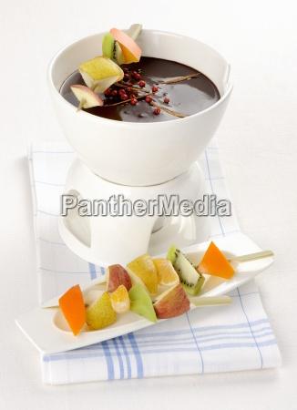 chocolate fondue with fruit kebabs