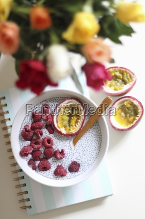 chia pudding with fresh raspberries passion