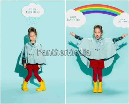 kleines maedchen posiert in mode stil