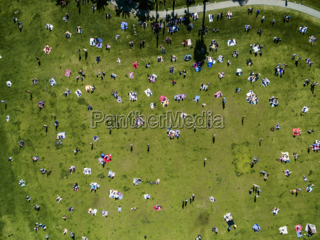 overhead view of people in a