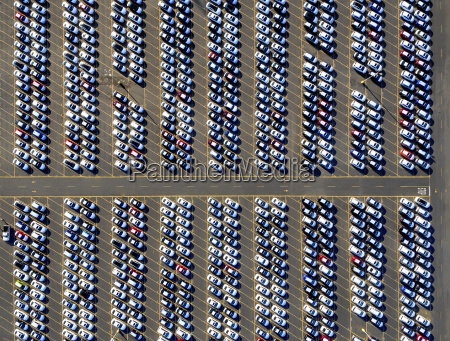 aerial view of a car distribution