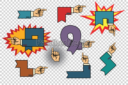set of business hand signs arrows