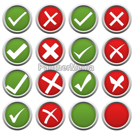 red and green check mark and