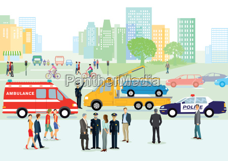 verkehrsunfall mit polizei und rettungswagen
