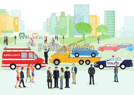 verkehrsunfall, , mit, polizei, und, rettungswagen - 20504101