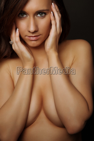 glamour topless attractive brunette girl