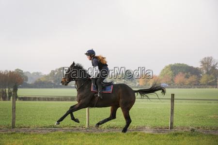 woman riding a bay horse along