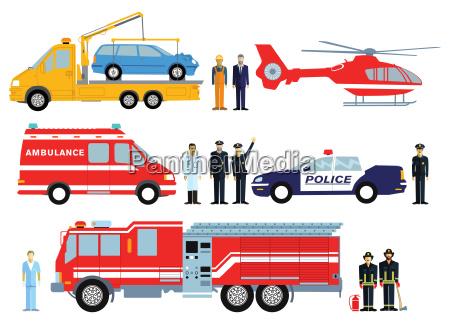 feuerwehr polizei und rettungswagen