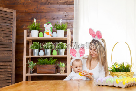 happy mother and her cute child