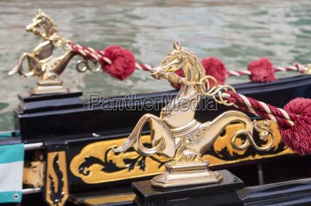 close up detail of golden horse