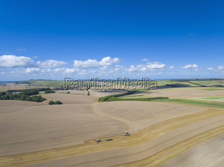 aerial view of two combine harvesters