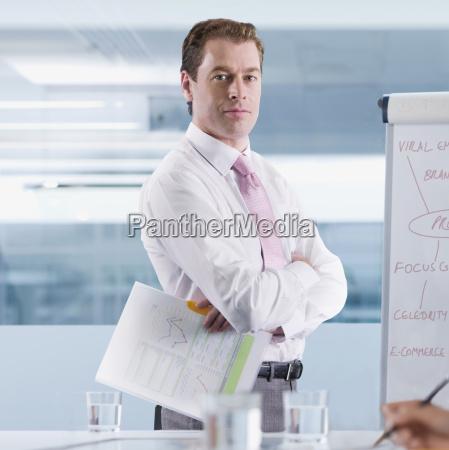 portrait of businessman by flipchart during