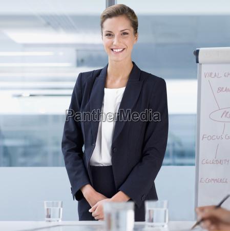 portrait of businesswoman by flipchart during