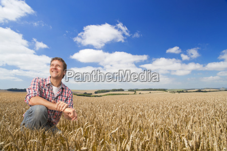 portrait of farmer inspecting wheat crop