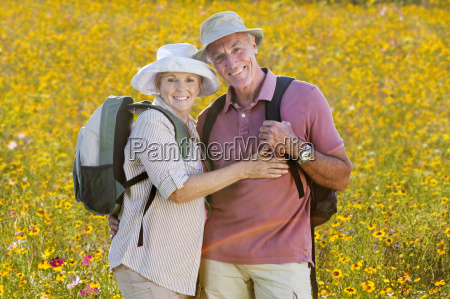 portrait of senior couple on walk