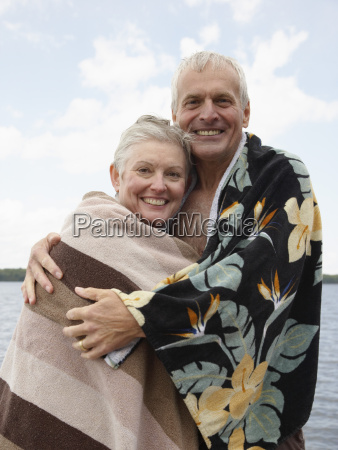 portrait of couple by lake