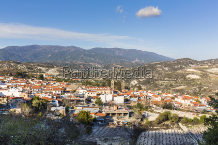 elevated view of omodos a popular
