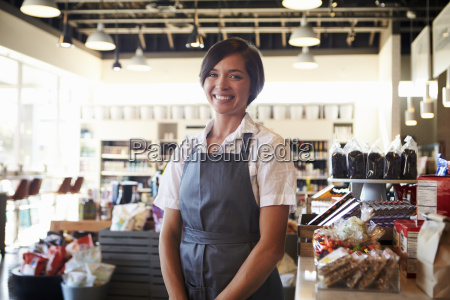 portrait of female employee working in