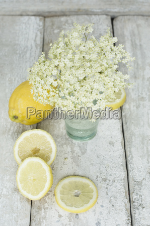 elderflowers and sliced lemon