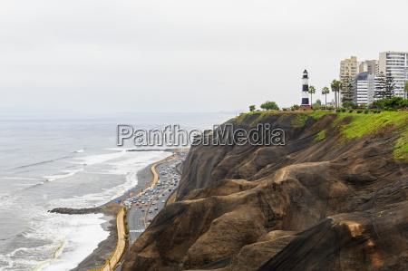 peru lima miraflores steep coast lighthouse