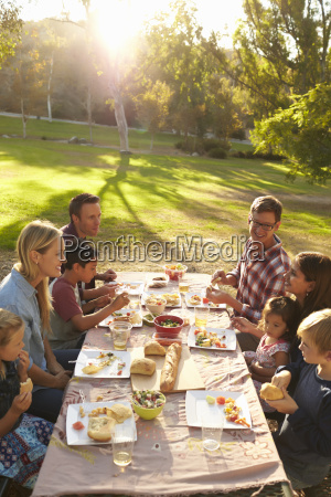 dos familias que tienen picnic en