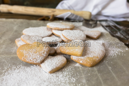 heart shaped shortbreads sprinkled with icing