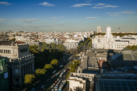 spain madrid cityscape with alcala street
