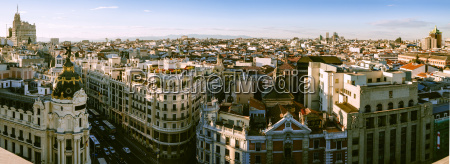 spain madrid cityscape with gran via