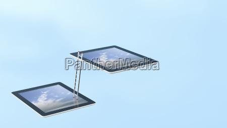 two tablets connected with ladder 3d
