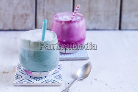 blue coloured latte with spirulina algae