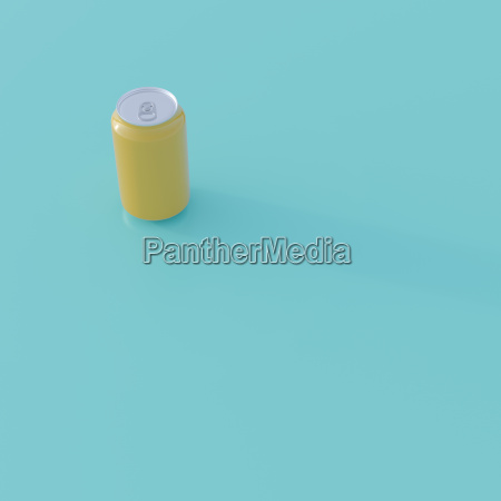 yellow beverage can on turquoise ground