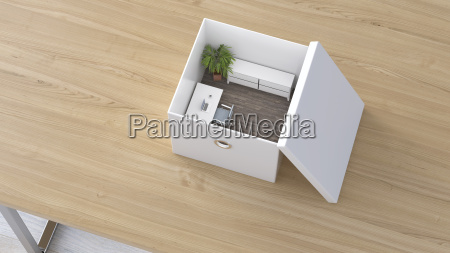 office in a box 3d rendering