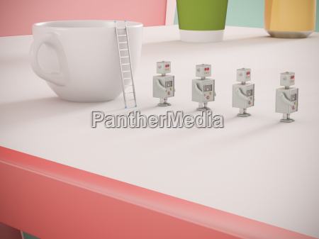 row of four miniature robots on