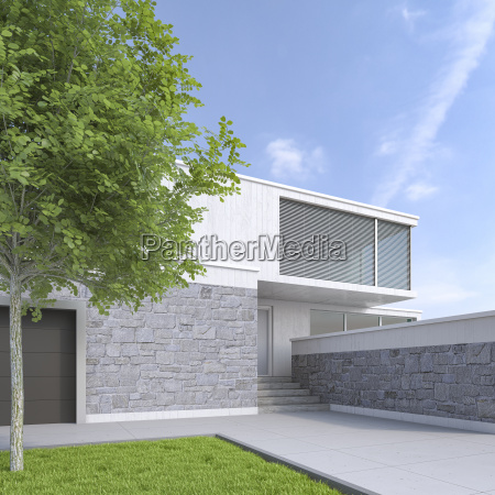 modernes einfamilienhaus 3d rendering