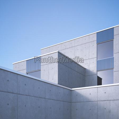 modern concrete architecture 3d rendering