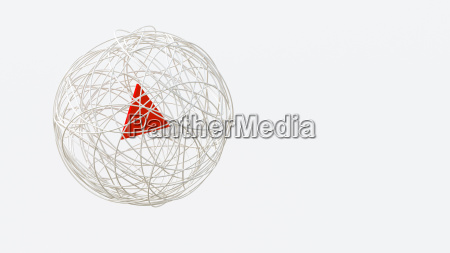 string sphere with red triangle in