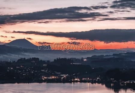 austria mondsee lake mondsee at dusk