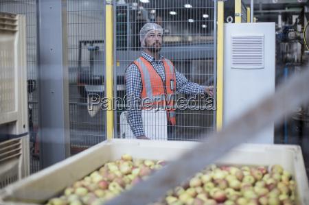 inspektor in apfel verteilung fabrik