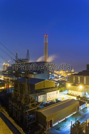 hong kong power station at sunset
