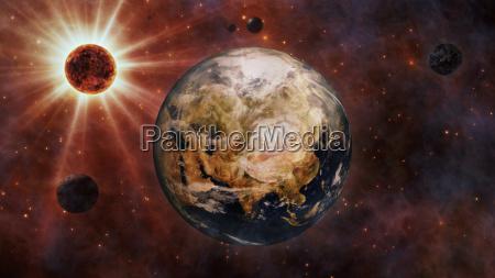 planet erde sonne mond und planeten