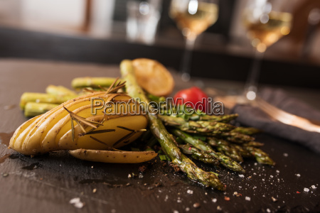 grilled asparagus in a restaurant
