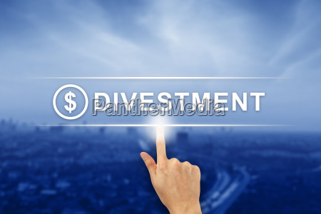 hand clicking divestment button on touch